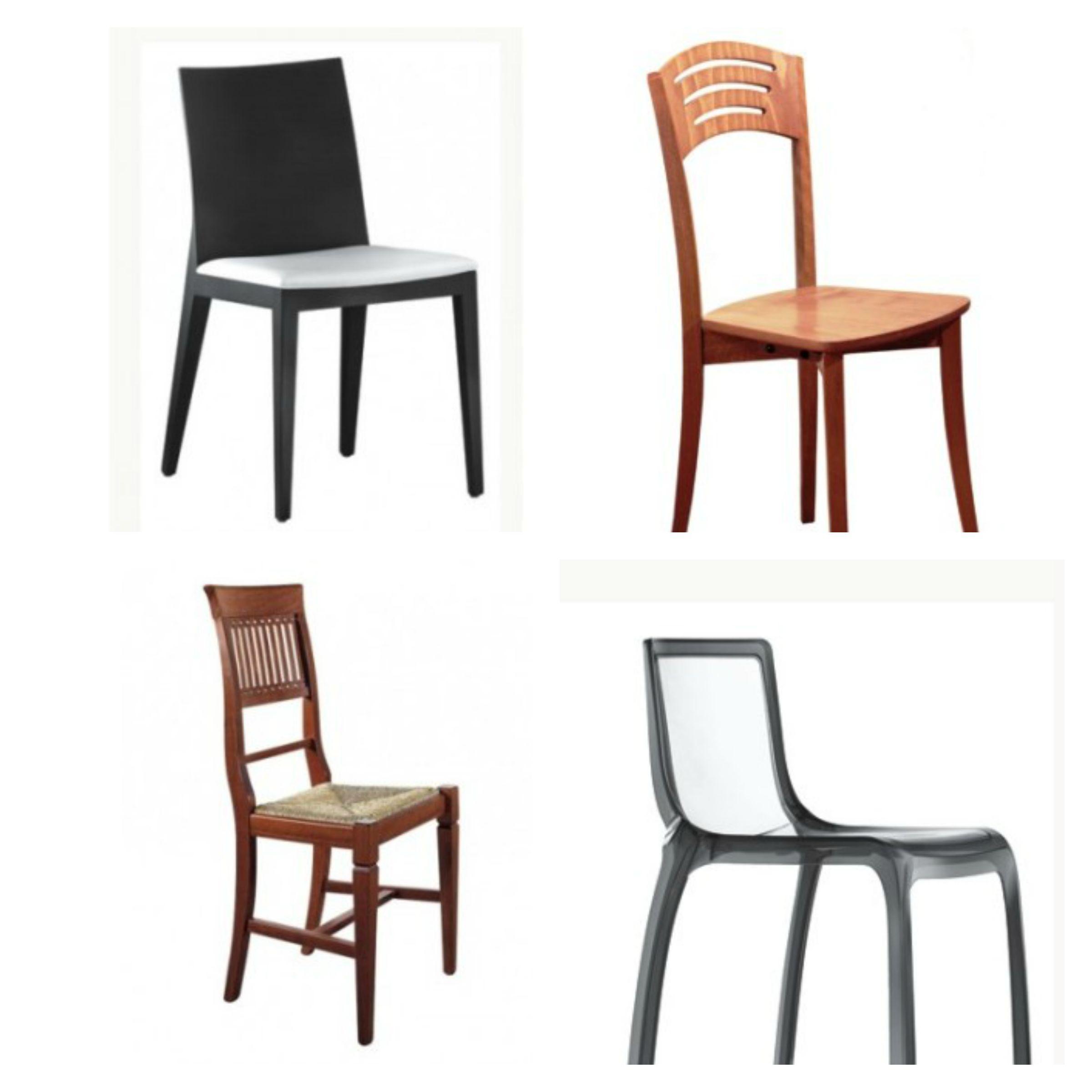 sedie per sala da pranzo in pelle e in legno emerson